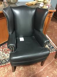 Pottery Barn Leather Pottery Barn Black Leather Wingback Chair Consignment Furniture