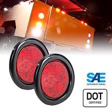 led trailer tail lights amazon com 2pc ols 4 round led trailer tail lights red turn stop