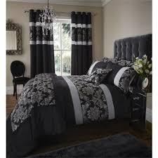 buy catherine lansfield glamour jacquard black duvet cover set