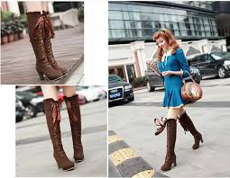 s boots knee high brown fashion bow knee high heeled boots for fall winter
