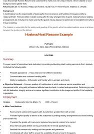 Hostess Resume Example by Sample Hostess Resume Restaurant Service Resume Occupational