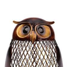 owl art sculpture coin saver box money pot handmade home decor