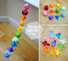 diy colorful geometric platonic solids garland garlands
