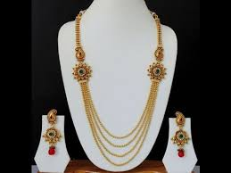 gold necklace with earrings images Long necklace ruby ethnic indian jewelry earrings models long jpg