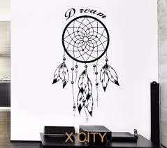 chambre n ative noir sticker dreamcatcher indian devis rêve amulette