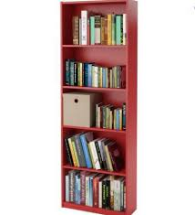 Storage Bookshelf 5 Shelf Bookcase Book Storage Bookshelf Home Office Red Red
