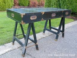new find campaign desk with sawhorse legs the weathered door
