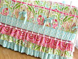 Pink And Aqua Crib Bedding Bumperless Kumari Garden Crib Bedding Lottie Da Baby Baby