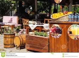 covered outdoor seating fresh orange juice stand editorial stock image image 48656614