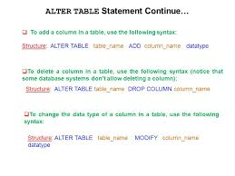 alter table modify column using ddl statements to create and manage tables ppt download
