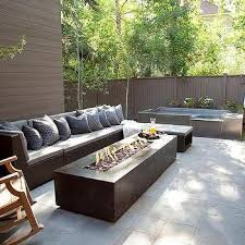 Modern Fire Pits by Long Fire Pit Next To In Ground Pool Transitional Pool
