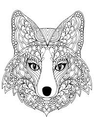 beutiful fox head animals coloring pages for adults justcolor