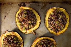healthy vegetarian thanksgiving recipes roasted acorn squash with wild rice stuffing vegetarian main