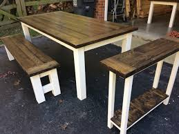 Farm Table With Bench And Chairs Into The Woods Farmhouse Tables Home