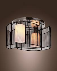 Semi Flush Mount Modern 2 Light Glass Semi Flush Mount With Black Shade Parrotuncle