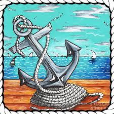 coastal nautical decorative art original painting anchor and