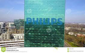le de bureau philips tir aérien de gratte ciel de bureau avec le logo de philips