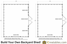 Floor Plans For Sheds 12x16 Studio Shed Plans Center Door