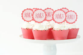 monogram cupcake toppers monogram cupcake toppers coral birthday party supplies