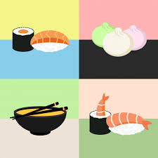 jeu de cuisine sushi cuisine japonaise sushi collection crevettes dim sum soupe miso