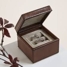 wedding rings in box leather ring box storage or presentation of engagement or wedding