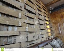 repurposed barrels make a unique wall stock photo image