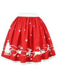christmas skirt christmas elk print a line skirt in xl sammydress