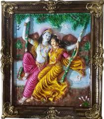 handmade colorful framed radha krishna painting in fiber u2013 47 2