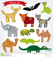 set of funny cartoon animals character on white background zoo