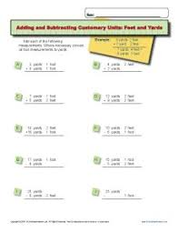unit conversion worksheet adding and subtracting feet and yards