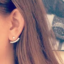back diamond earrings crescent earrings