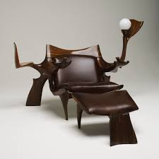 Leather And Wood Chair With Ottoman Design Ideas Brown Leather Reading Chair With Brown Wooden Frame And Legs