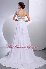 style beading empire court train chiffon wide straps wedding dress