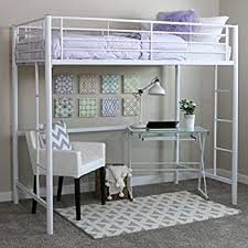 Amazoncom Your Zone Twin Wood Loft Style Bunk Bed Kitchen  Dining - Metal bunk bed with desk