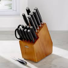 kitchen knives block set oxo 17 knife block set crate and barrel