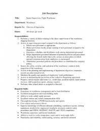 Warehouse Associate Job Description For Resume by Resume Warehouse Job Description Resume Good Server Resume