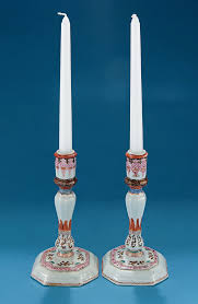 pair of rare famille rose candlesticks silver shape m ford