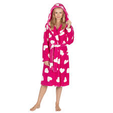 ladies hearts hooded robe dressing gown soft fluffy nightwear