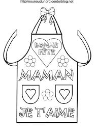 cuisine de fete des mères tablier de cuisine en coloriage et avec poème