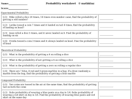 Experimental Probability Worksheet Probability Experimental Theoretical Compound 4th 6th Grade