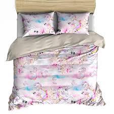 Unicorn Bed Set Rainbow Clouds Unicorn Bedding Set Duvet Pillow Cases