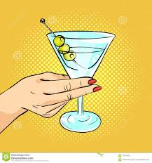 martini cup cartoon vector hand drawn pop art illustration of woman hand holding