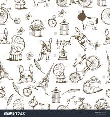 eiffel tower wrapping paper retro backgrounds vintage labels bulldog stock vector