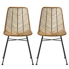fauteuil de bureau lena lot 2 chaises lena rotin naturel bloomingville visuel 1