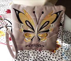 butterfly zipper purse 4x4 5x5 6x6 in the hoop machine embroidery