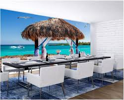 cottage wall mural promotion shop for promotional cottage wall 3d wallpaper custom photo mural beach romantic thatched cottage room decor painting 3d wall mural wallpaper for walls 3 d