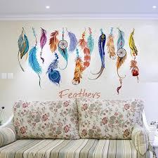aliexpress com buy diy feather wall sticker creative wall decals