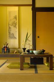 japanese home decor with tatami mats and wooden table and green