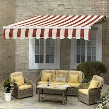 12x10 Awning by Sunjoy 110108003 10x8 Manual Awning Red U0026 White Stripe Walmart Com