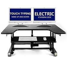 dual monitor stand up desk high quality electric standing desk touch typing up down height